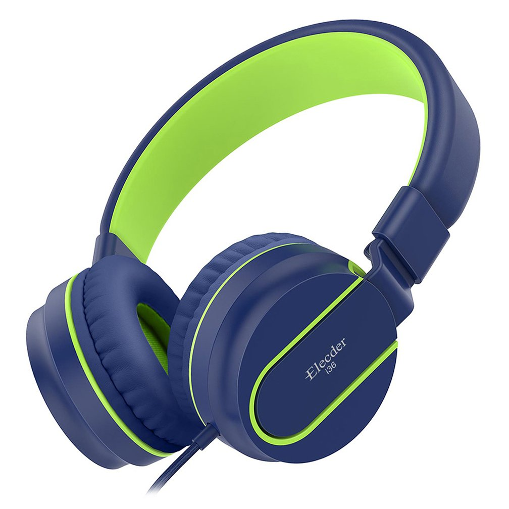 Elecder i36 Kids Headphones Children Girls Boys Teens Foldable Adjustable On Ear Headphones 3.5mm Jack Compatible iPad Cellphones Computer Kindle MP3/4 Airplane School Tablet Blue/Green by ELECDER