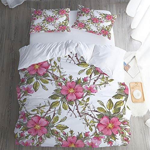 Sleep Restoration luxury bed sheet,Queen bed Sheet 3 Piece Set cool breathable,Flower Watercolor Dog Rose Garden Pattern pillowcase,Bed Sheet,Leaves and Buds Image Light Pink White and Lime Green. (Bud Light Lime Cans 30 Pack Price)