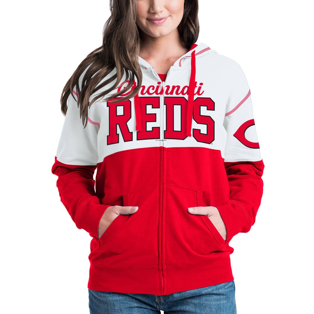 purchase cheap a6998 7be40 5th & Ocean Cincinnati Reds Women's French Terry Zip Up Color Block Hoodie