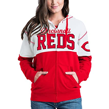 b8a02ac80667f Amazon.com : 5th & Ocean Cincinnati Reds Women's French Terry Zip Up Color  Block Hoodie X-Small : Clothing