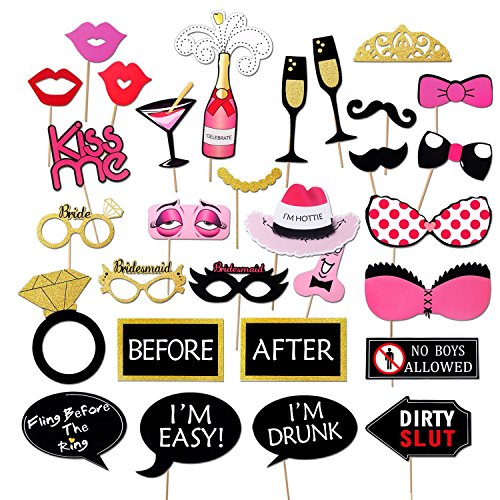 BrideBeWed Bachelorette Party Photo Booth Prop Supplies 30pcs | Fun, Glittery& Colorful Dress Up Accessories For Bridal Showers, ThemeParties, Wedding Receptions, Girl Nights, Games, Selfies & (Party S)