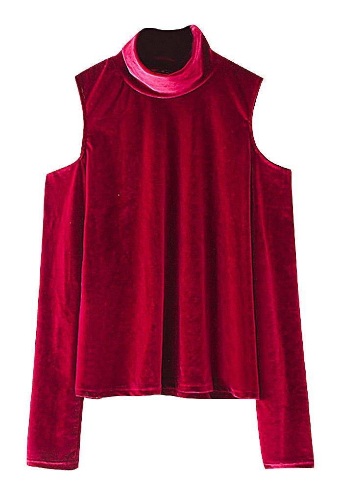 US&R Women's Cotton Polyester Cold Shoulder Turtleneck Full Sleeve Velvet Top, Red XS,Manufacturer(S)
