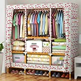 GL&G Wardrobe Closet Portable Oxford cloth Free Standing Storage Organizer – Portable, Detachable, and Lightweight Solid wood Clothing Closet Home decoration,I,58.5''68''