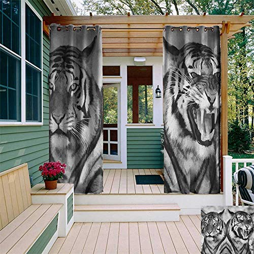 leinuoyi Safari, Sun Zero Outdoor Curtains, Cat Expression Opposite Images Fearsome Teeth Mirror Angry Intense Wildlife, Outdoor Privacy Porch Curtains W96 x L96 Inch Pale Grey Black