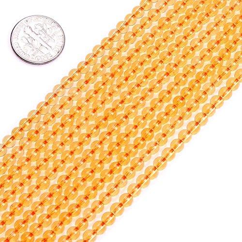 - 4mm Round Yellow Citrine Beads Semi Precious Gemstone Beads for Jewelry Making Strand 15 inch (95-100pcs)
