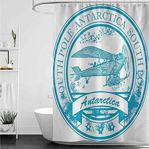home1love Shower Curtain,Vintage Airplane South Pole Antarctica Words on Retro Style Blue Stamp Grunge Airplane,Bathroom Decoration,W36x72L,Sky Blue White