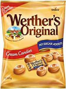 Werther's Original Cream Candies No Sugar Added Bag, 12 Bags x 60 g