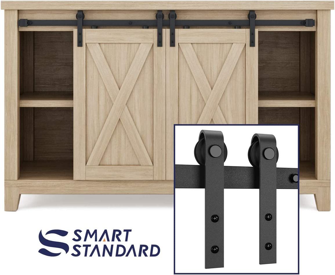 "SMARTSTANDARD 4FT Super Mini Sliding Barn Door Hardware Track Kit - Smoothly and Quietly -for Double Opening Cabinet, TV Stand, Closet - Fit 12"" Wide Door Panel - J Shape Hanger (NO Cabinet)"