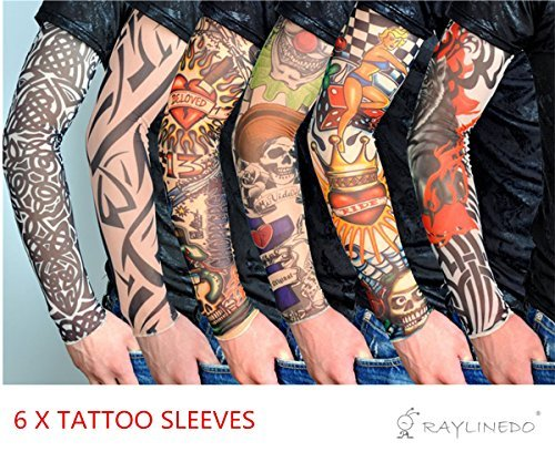 RayLineDo 6X Temporary Tattoo Fancy Funky Fashion Costume Novelty 92% Nylon and 8% Lycra Tattoo Arm Leg Stockings Sleeves -