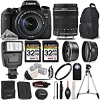 Canon EOS T6s DSLR Camera + Canon EF-S 18-135mm IS STM Lens + Wireless Remote + 0.43x Wide Angle Lens + 2.2x Telephoto HD Lens - All Original Accessories Included - International Version