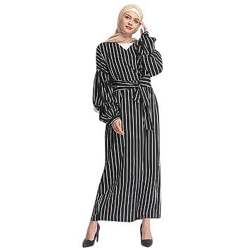 2bd4057de51a Clearance!2019 Muslim Ramadan Womens Modest Stripe Maxi Dress Abaya Long  Sleeve Ethnic Crew Neck