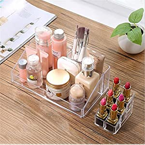 Make Up Organizers and Storage 2 pieces,Clear Acrylic Jewelry Cosmetic Makeup Storage Organizer Display Boxes With a Removable Lipstick Nailpolish Holder By Erya
