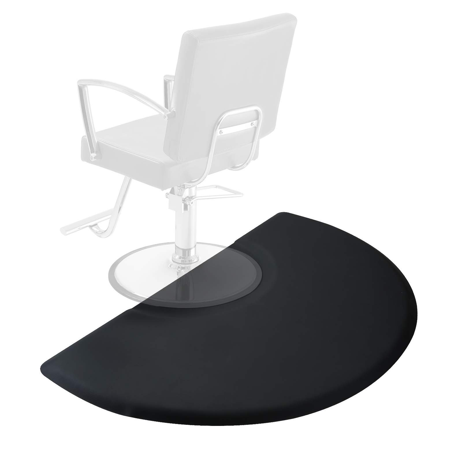 Saloniture 3 ft. x 5 ft. Salon & Barber Shop Chair Anti-Fatigue Floor Mat - Black Semi Circle - 7/8 in. Thick