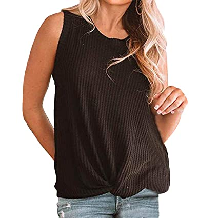 8f7a84fe9990 Amazon.com: Toponly Womens Casual Twist Knot Waffle Knit Tank Tops  Sleeveless T Shirt Cute Solid Tee Shirts Summer: Musical Instruments