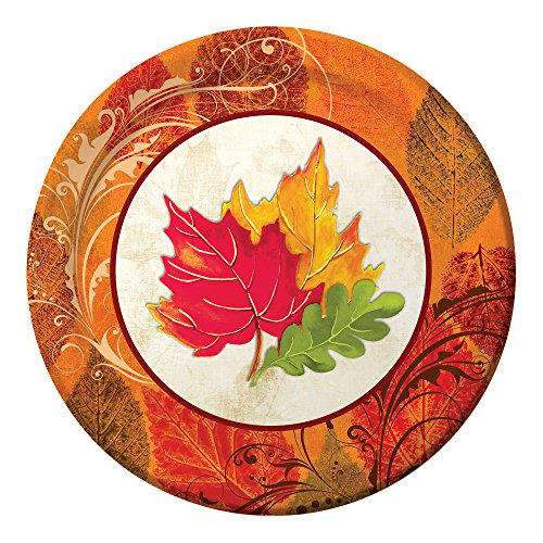 Sturdy Style Round Paper Dinner Plates, Fall Flair, 8-Count