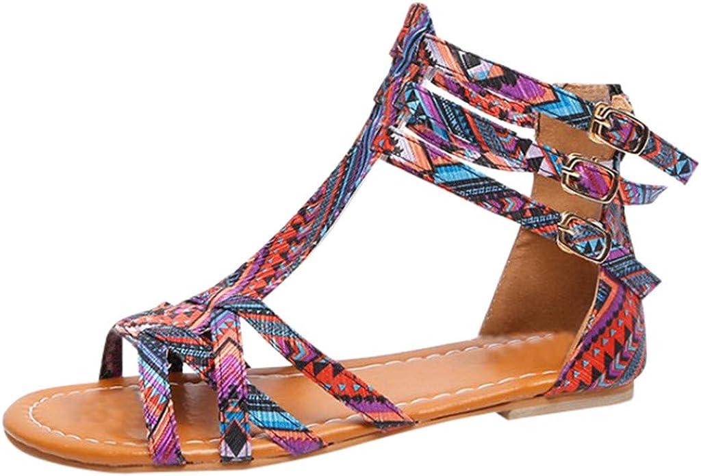 Sandales Femmes Plates,Alaso Chaussures Tongs Été Bohème