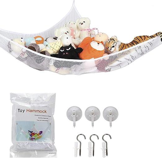 Toy Hammock Net Organizer Corner Stuffed Animals Kids Hanging Storage Bath White