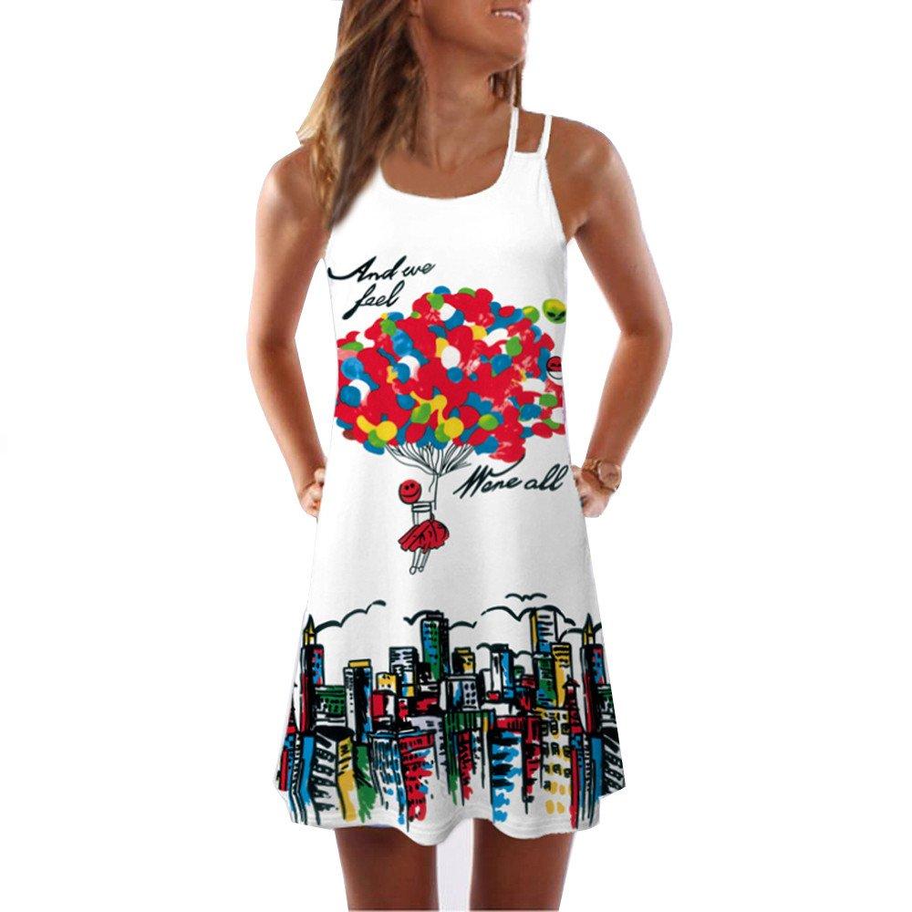 Tunika Kleid Midi Damen Kanpola Druck Sommerkleider Ohne äRmel GroßE GrößEn TräGerkleid Locker Strandkleider LäSsig Oversize T-Shirt Longbluse Elegant Nachthemd