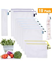 Reusable Produce Bags 10 Pack (Lightweight, Faster Scan by KeePaI) Superior Double-Stitched Strength Mesh Bags with Tare Weight on Tags for Shopping & Storage of Fruit, Veggies, Grocery, Tools & Toys