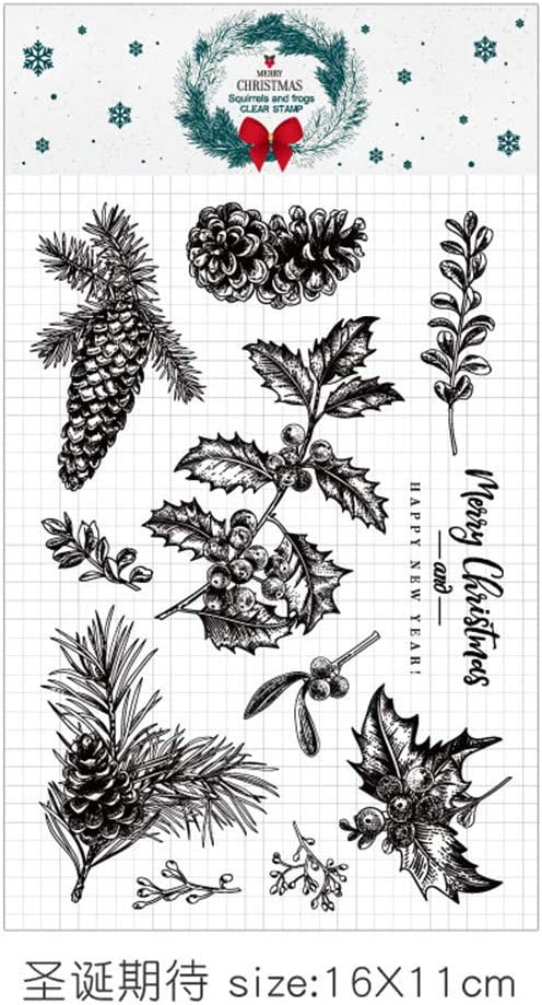 Merry Christmas Decors X-mas Leaves Trees Rubber Clear Stamp//Seal Scrapbook//Photo Decorative Card Making Clear Stamp
