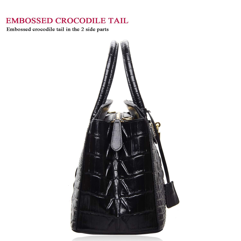 4efd311ba8be Amazon.com  PIJUSHI Women s Handbags Crocodile Top Handle Satchel Bags  Designer Padlock Handbags For Women (P10103 Crocodile Black)  Shoes