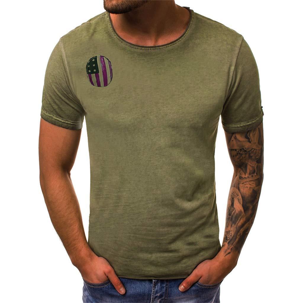 YOMXL Men's Cotton T-Shirt Flag Striped Casual Tee Office Work Tee Tops Short Sleeve Shirt Green by YOMXL