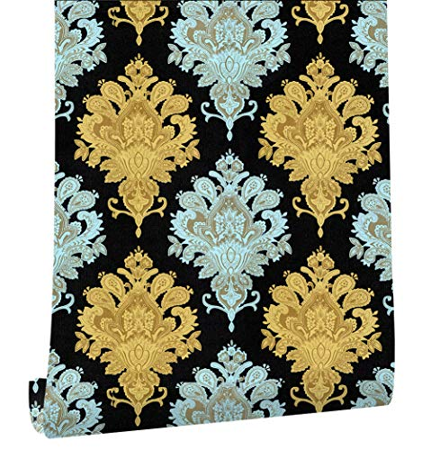 """HaokHome 18053 Damask Wallpaper Peel & Stick Wall Murals Black/Gold/Silver 17.7""""x 9.8ft Prepasted Contact Paper"""