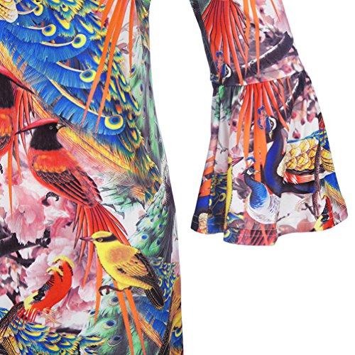NiSeng Damen Bedruckt Strandkleid Lange Ärmel MiniKleid Sommerkleid