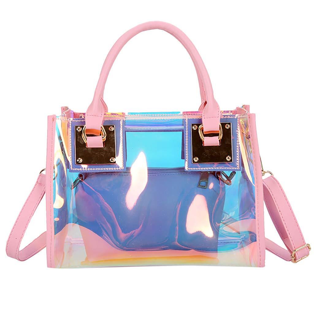 Sameno Clear Bag ✿ Womens 2 in 1 Transparent Sequin Tote Bag PVC Plastic Waterproof Crossbody Shoulder Bag with Adjustable Strap Stadium Bag + Cosmetic Bag Zipper Purse Girls Makeup Handbag