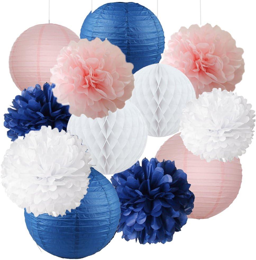 12pcs Mixed Navy Blue Pink White Party Tissue Pom Poms Hanging Paper Lantern Honeycomb Balls Nautical Themed Vintage Wedding Birthday Girl Baby Shower Nursery Decoration