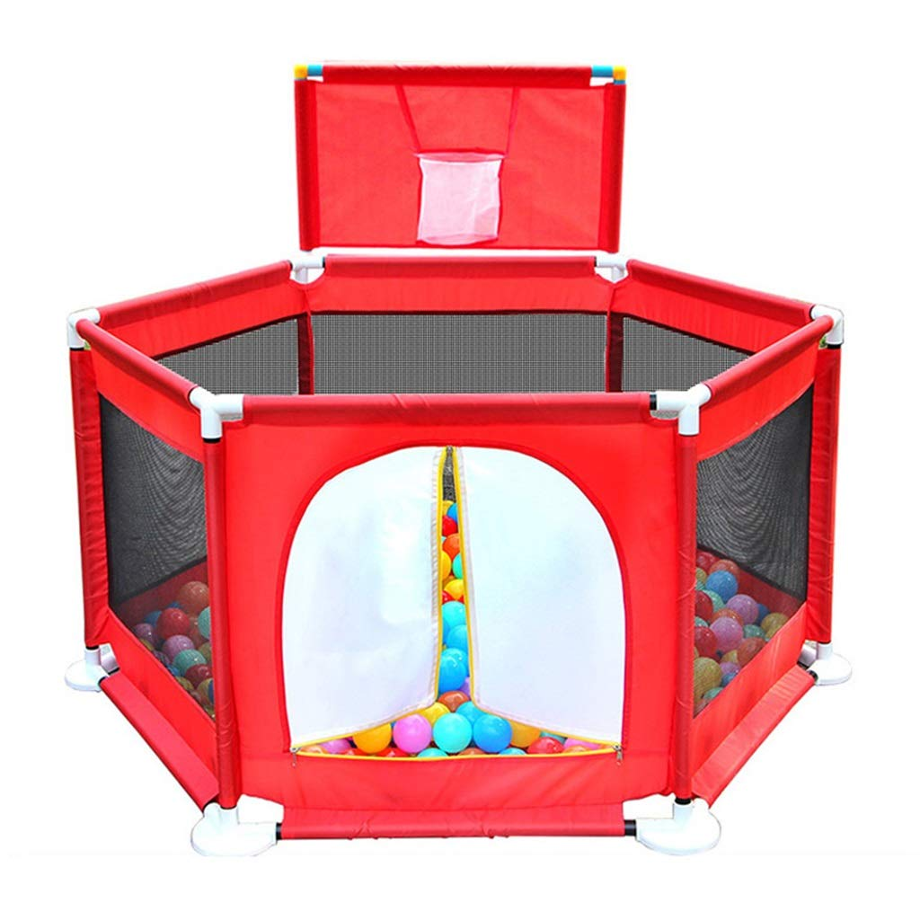 Ball Pit Play Tent for Kids - with Zipper Door - with Basketball Hoop - 6- Sided Ball Pit for Kids Toddlers and Baby - Balls Not Included as an Indoor/Outdoor Play Tent (Multicolor