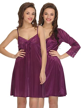4dcf2581d4 Clovia Women s 2 Pcs Set of Nightslip and Robe  Amazon.in  Clothing    Accessories