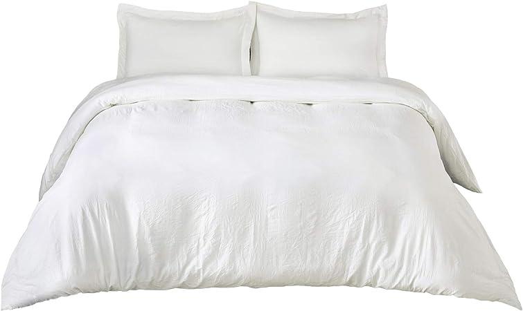Copripiumino Bianco.Bedsure Copripiumino Singolo Bianco 155x200cm Parure