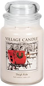 Village Candle Sleigh Ride 26 oz Glass Jar Scented Candle, Large