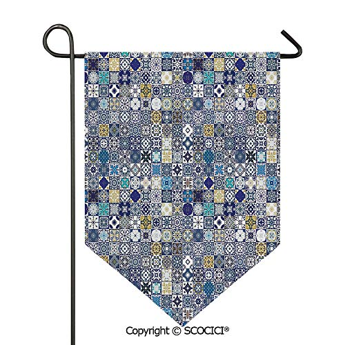 - Easy Clean Durable Charming 28x40in Garden Flag Mediterranean Square Tile Motifs Pattern Vintage Traditional Artistic Collection Decorative,Multicolor Double Sided Printed,Flag pole NOT included
