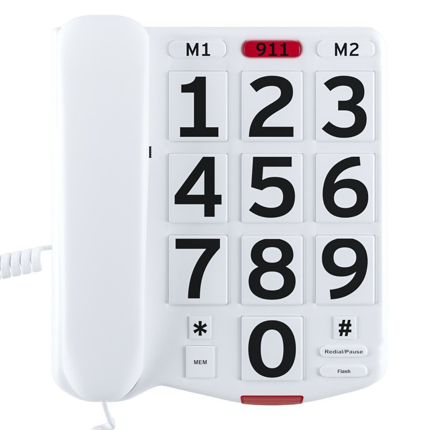 Home Intuition Amplified Single Line Corded Desk Telephone with Large Easy to Read Buttons and Extra Loud Ringer by Home Intuition