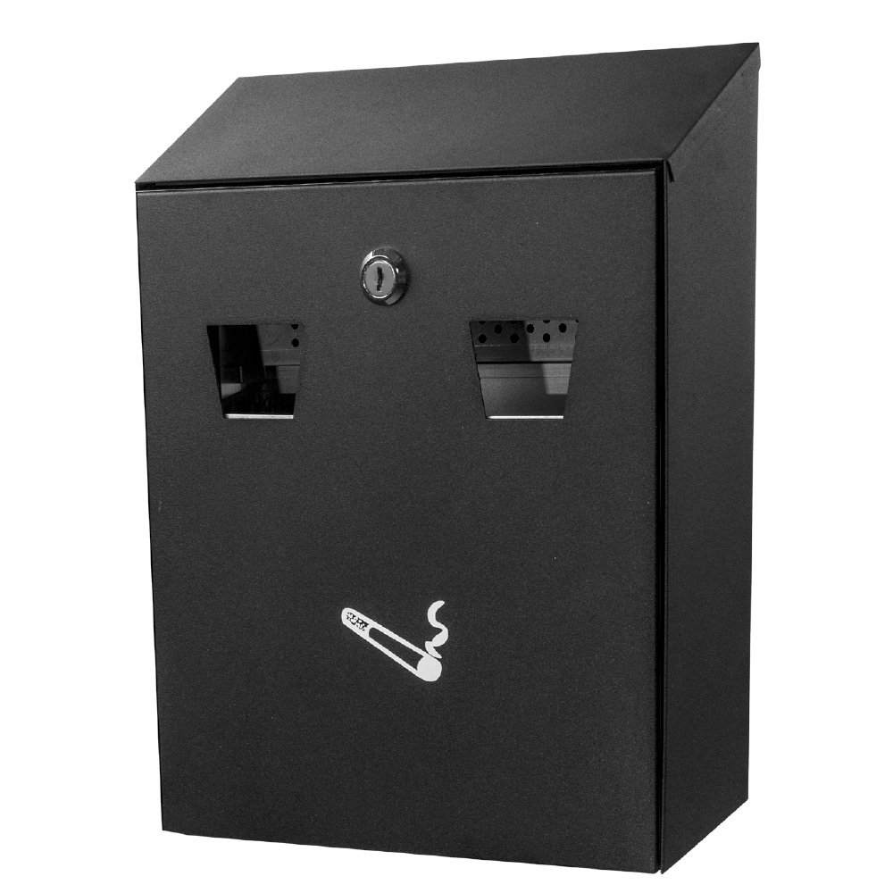 MD Group Cigarette Receptacle Wall Mounted Black Steel Weather & Fire Resistant