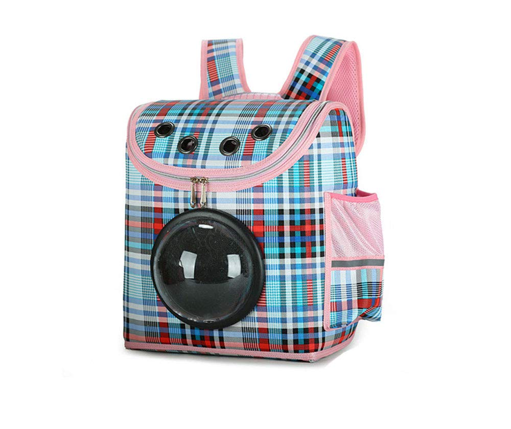 bluee Mobzk Portable Pet Backpack Transparent Ventilated Space Capsule Wear Dog Backpack Suitable For Small Cats And Dogs,Pink,M