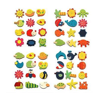48 animées animale et végétale Nature Magnets Aimants en bois pour les enfants