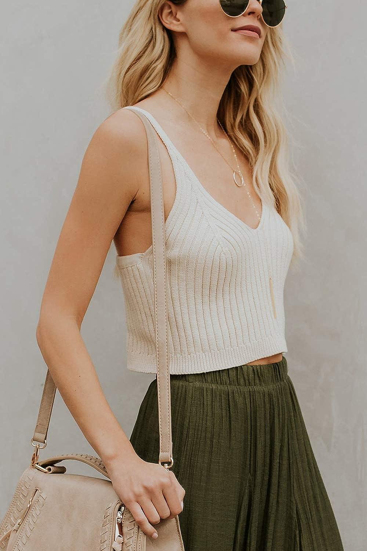 Yacun Women Tank Sweaters Knit Deep V Neck Sleeveless Crop Top T-Shirt