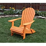 BRIGHT ORANGE POLY LUMBER Folding Adirondack Chair With Rolled Seating  Heavy Duty EVERLASTING Lifetime PolyTuf HDPE   MADE IN USA   AMISH CRAFTED