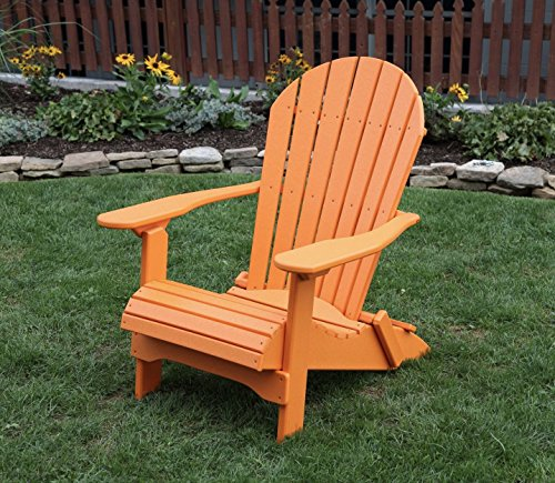 BRIGHT ORANGE-POLY LUMBER Folding Adirondack Chair with Rolled Seating Heavy Duty EVERLASTING Lifetime PolyTuf HDPE - MADE IN USA - AMISH CRAFTED