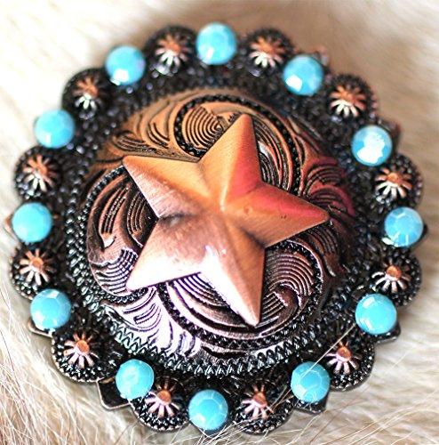 4 Conchos Concho Star Copper Rhinestone Horse Saddle Western Turquoise Tack ()