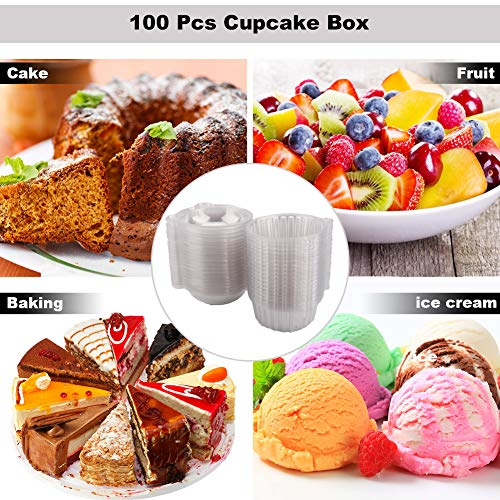 100 Pcs Cupcake Box container Single,Plastic Individual Disposable Cupcake  Box muffin cups ,Snack Bowl, with Lids, Pods Dome Cups Cake Boxes Gifts
