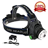 Amazon Price History for:KOLPCTT Rechargeable Headlamp LED, 3 Modes Headlight, T6 Flashlight Headlamp, Battery Powered Helmet Light for Camping, Running, Outdoor fishing,hiking and reading, present a charger