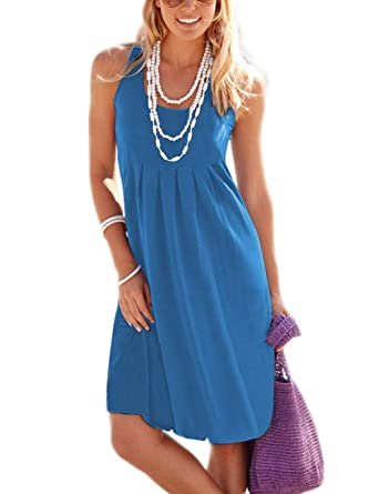 0ea1951c209 Traleubie Women s Casual Summer Tank Sleeveless Knee Length Vest Pleated  Sun Dresses Blue S