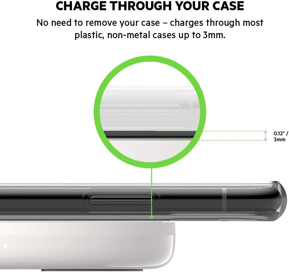 blanco cargador inal/ámbrico r/ápido con certificaci/ón Qi para iPhone y tel/éfonos de Samsung Base de carga inal/ámbrica BoostCharge de 10 W Belkin Google y otros