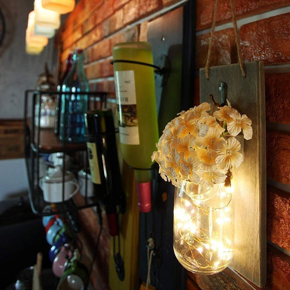 pannelli in legno MQUPIN ganci in ferro battuto decorazione da parete con 2 fiori di seta 2 luci da parete in barattolo rustiche a LED luci a LED con timer di 6 ore