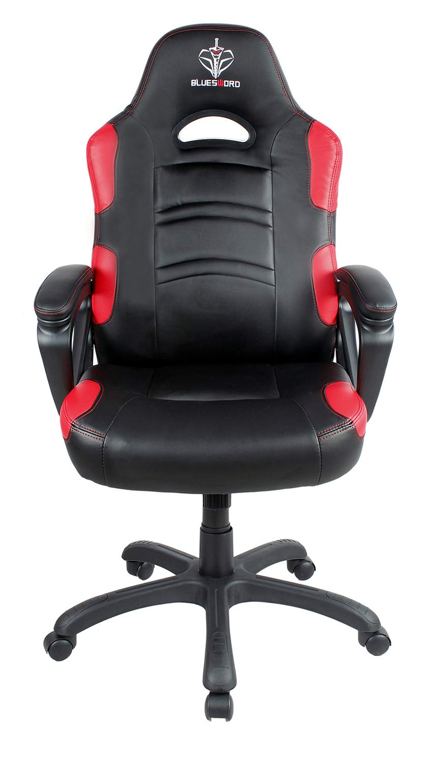 BLUE SWORD Gaming Chair, Racing Car Style Gaming Chair with Large Bucket Seat, Computer Chair with Tilting and Swivel Function, Leatherette, Red by BLUE SWORD