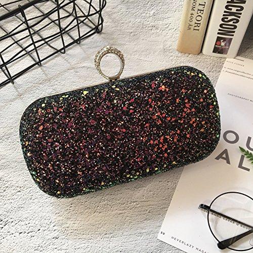 SODIAL Donna elegante Glitter Lock chiusura borsa catena borsa da sera Prom Banchetto festa borsa a tracolla (nero)